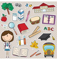 school girl with tools vector image