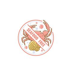 seafood free icon and label with crab and shell vector image