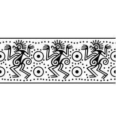 Seamless border in indian style vector