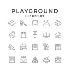 Set line icons playground vector