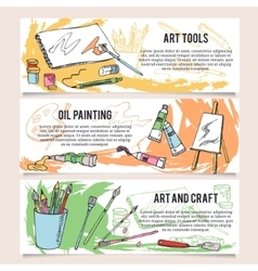 Set of art and craft tools design templates vector image