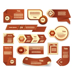 Set of brown progress version step icons eps 10 vector image vector image
