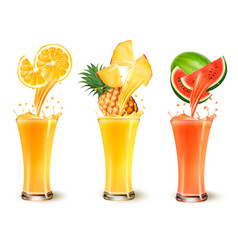 Set of fruit juice splash in a glass orange vector
