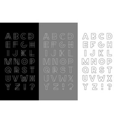 set of three trendy english alphabets vector image