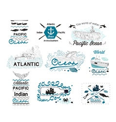 set vintage nautical labels logos and elements vector image