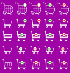 shopping cart set - shopping basket vector image