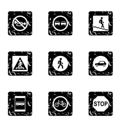 Sign warning icons set grunge style vector