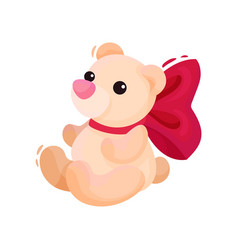 small teddy bear with big pink bow on neck vector image