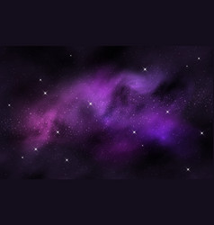 Space background colorful nebula clouds and stars vector