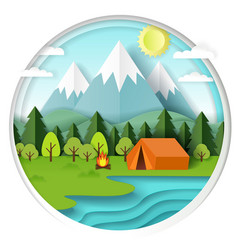Summer camping paper cut vector
