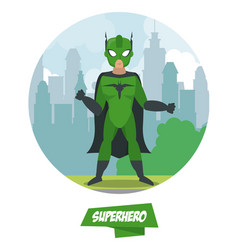 superhero man cartoon on city vector image