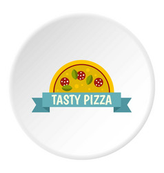 Tasty pizza label icon circle vector