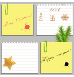Templates of four Christmas stickers and blanks vector image