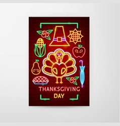 thanksgiving day neon flyer vector image