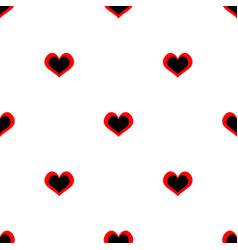 tile cute pattern with red and black hearts vector image