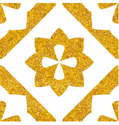 Tile decorative floor tiles white and gold pattern vector