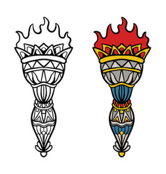 traditional tattoo design torch vector image