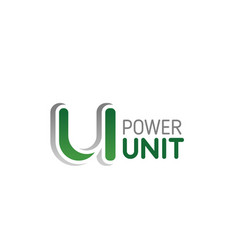 u letter icon for power unit company vector image