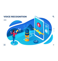 voice recognition smartphone application screen vector image