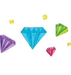 Watercolor of diamonds vector image