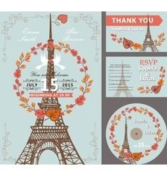 Wedding invitation setAutumn leaves wreathEiffel vector image