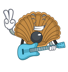 With guitar shell with pearl mascot cartoon vector