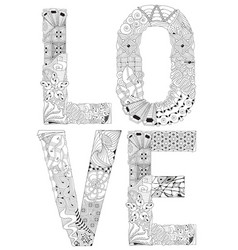 word love for coloring decorative vector image