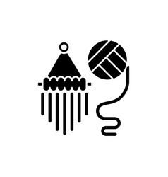 Yarn wall hangings black glyph icon vector