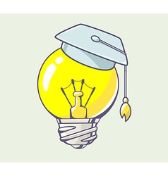 yellow lightbulb with graduation cap on c vector image