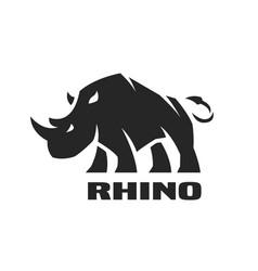 angry rhino monochrome logo vector image vector image