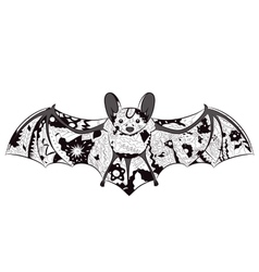 black-and-white bat vector image vector image