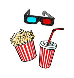 cinema objects - popcorn bucket 3d glasses and vector image
