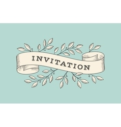 Greeting card with inscription Invitation vector image vector image
