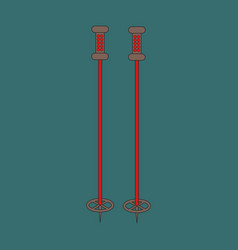 icon in flat design ski poles vector image vector image