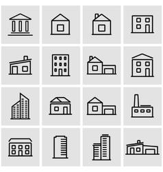 line buildings icon set vector image vector image