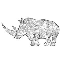 Rhinoceros coloring book for adults vector image vector image
