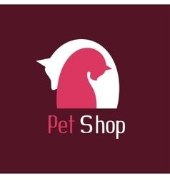 Cat and dog tender embrace sign for pet shop logo vector