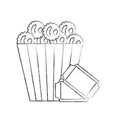 delicious pop corn with tickets vector image
