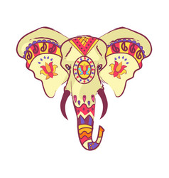 indian elephant head with bright ethnic ornaments vector image