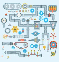 machinery parts robotic mechanism icons set vector image
