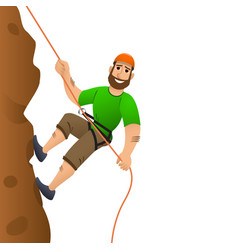 rock climber man commits to rise the steep slope vector image vector image
