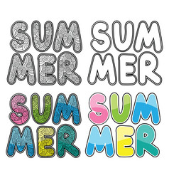 set of hand drawn word summer colorful vector image