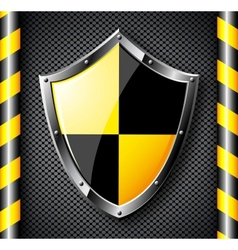 Steel shield over black dotted background vector image