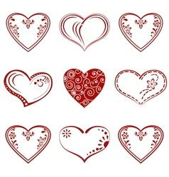 Valentine heart pictogram set vector image vector image
