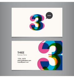 business card number 3 vector image vector image