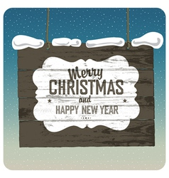 Christmas wooden signboard vector image vector image
