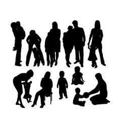 happy mother and son silhouettes vector image vector image