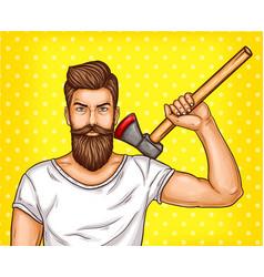 pop art brutal bearded man macho with an vector image