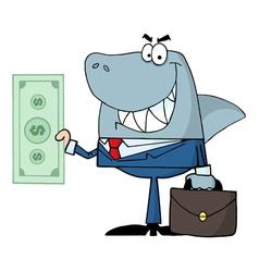 smiled business shark holding cash vector image