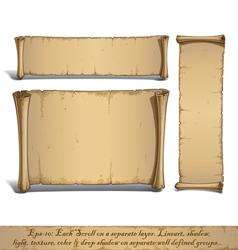 Three Cartoon Scrolls Standing Vertically vector image vector image